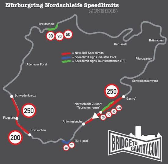 Een overzichtelijk mapje van de snelheidslimieten, gemaakt door Nürburgringblog Bridge to Gantry.