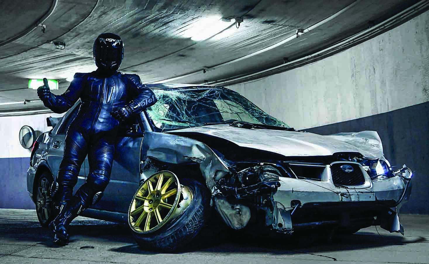 De Subaru waarmee Ghost Rider in zijn laatste film slechts nipt kon ontsnappen aan de politie.